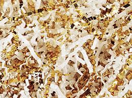 gift basket shredded paper white gold basket shred