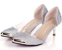 low silver heels qu heel