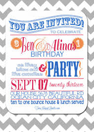 colors free joint birthday party invitations templates with blue
