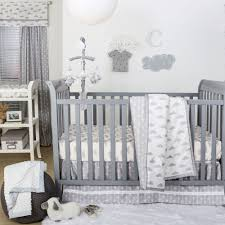 Gray Baby Crib Bedding Grey And White Cloud Print 3 Baby Crib Bedding Set By The