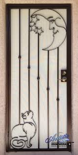 cat and the moon custom security door sd0169 wrought iron
