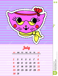 Trendy Colors 2017 Calendar 2017 With Cats July In Cartoon 80s 90s Comic Style