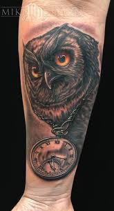 chain clock awesome owl tattoo on near wrist golfian com