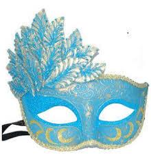 light blue gold leaf cascade venetian mardi gras mask