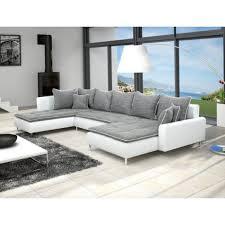 canapé gris et blanc pas cher meublesline canapé d angle dante 6 places tissu et simili cuir
