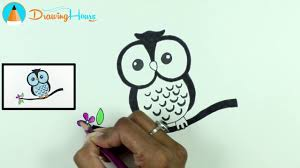 owl drawing how to draw owls coloring pages for kids by
