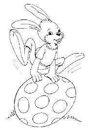 dessin d u0027un lapin sautant sur un gros œuf coloriage pour enfants