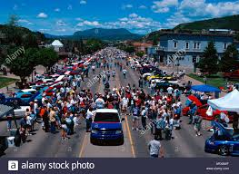 colorado mustang crowd at ford mustang car in steamboat springs colorado usa