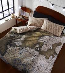 Map Quilt Map European Atlas Print Brown Beige Reversible Duvet Quilt Cover