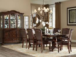 portola 9pcs traditional cherry brown dining room table chairs