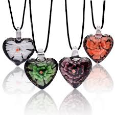 heart bead necklace images Handmade italian murano glass heart pendant necklace leather jpg