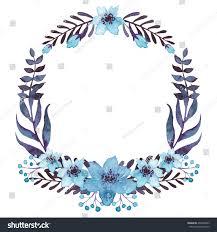 wreath watercolor blue flowers stock illustration 404308933