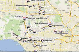Map Of Los Angeles Cities by Map Of L A Private Schools Beyond The Brochure