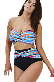 plus size colorful striped high waist swimsuit 2362 0 jpg