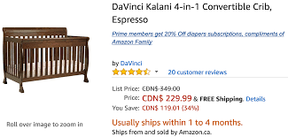 Storkcraft Sheffield Ii Fixed Side Convertible Crib by Amazon Canada Deals Save 19 On Davinci Kalani 4 In 1 Convertible
