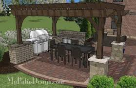 Backyard Brick Patio Design With 12 X 12 Pergola Grill Station by Outdoor Entertainment Patio Design With Pergola And Bar 855 Sq
