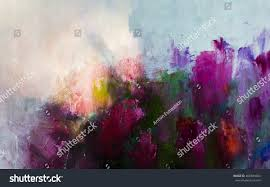 abstract painting background flowers painting oil stock