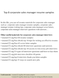 software qa manager resume sample top8corporatesalesmanagerresumesamples 150410091027 conversion gate01 thumbnail 4 jpg cb u003d1428675073