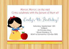 Princess Themed Birthday Invitation Cards Custom Printable Snow White Inspired Birthday Party Invitation