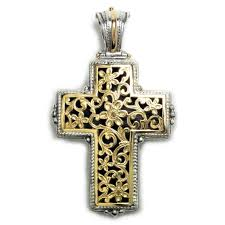 byzantine crosses 5247 solid 18k gold sterling silver byzantine cross pendant