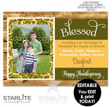 thanksgiving card rustic printable blessed photo card editable