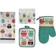 kitchen towel set walmart towel mainstays owl 7 piece kitchen set walmart com