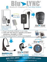 blucomm blu lync bluetooth headset adapter klein electronics