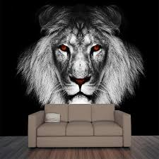 black white wall mural art peel stick wallpaper murals lion wall mural