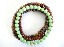 stackable bracelets mala bead bracelet set green turquoise wooden mala set of