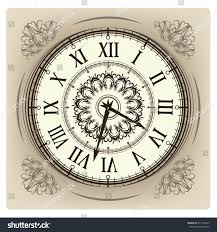 vintage clock floral ornament curly stock vector 411709339