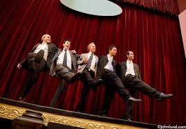 Curtain Dancing Business Men On Stage Dancing The Can Can