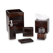 Wooden Bathroom Accessories Set buy croscill sun valley wood waste basket from bed bath u0026 beyond