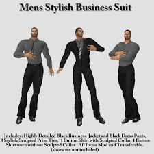 second life marketplace nyf mens business suit dark grey shirt