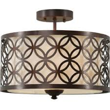 Allen And Roth Light Fixtures by Allen Roth Earling 15 In W Oil Rubbed Bronze Fabric Semi Flush