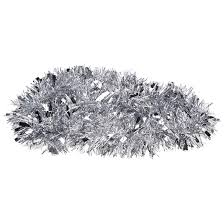 2m 6 5ft silver tree tinsel garland embossing