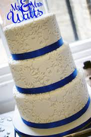 3 Tier Wedding Cake Royal Blue Flower Stamp 3 Tier Wedding Cake 5 Bakealous