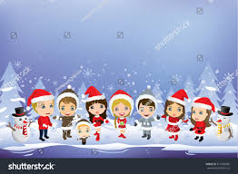 kids having christmas party christmas background stock vector