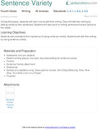 sentence variety lesson plan education com