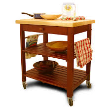 catskill kitchen islands carts work stations catskill roll about cart lacquered top cherry stained shelves 29