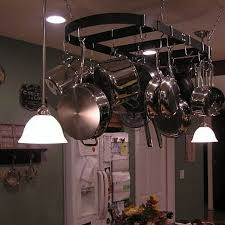 oil rubbed bronze pot rack with lights kitchen pot racks hanging breville sous chef contemporary inside
