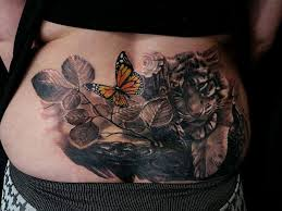 lower back tiger and butterfly chronic ink