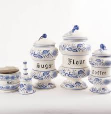 vintage blue onion canister set salt cellar and bell ebth