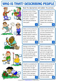 who is that describing people esl matching exercise worksheet by