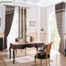 plaid window curtains drapes for living room blackout bedroom