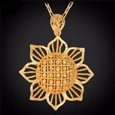 gold flower pendant necklace images Exquisite big flower 18k gold plated pendant necklace red star store jpeg