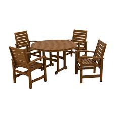 Dining Sets Polywood Signature White 5 Piece Patio Dining Set Pws152 1 Wh