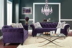 Purple Living Room Furniture 2 Pc Antoinette Collection Purple Premium Fabric