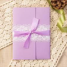 lavender wedding invitations exquisite watercolor flower lace pocket wedding invitation kits