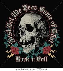 rock roll skull roses graphics work stock vector 730021258