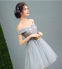 online shop ruthshen short gray prom dresses cheap off shoulder